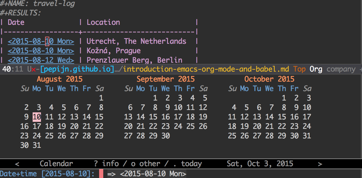 Emacs Org mode datepicker